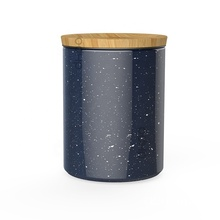 Food standard star pattern ceramic sugar <strong>container</strong> with bamboo lid