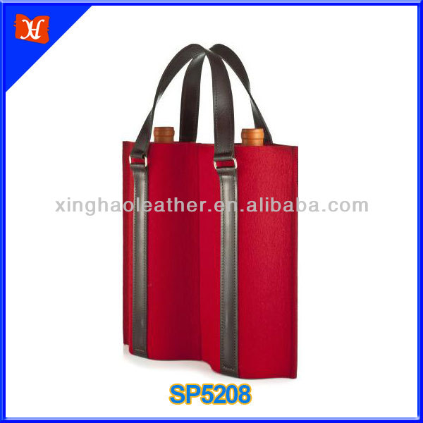 2014 fashion design leather and felt wine bottle bag