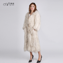 Natrual Knitted Real Raccoon Chinchilla Fur Coat Full Length Woman Winter Long Style Dress Henig Furs White For Sale Clothing