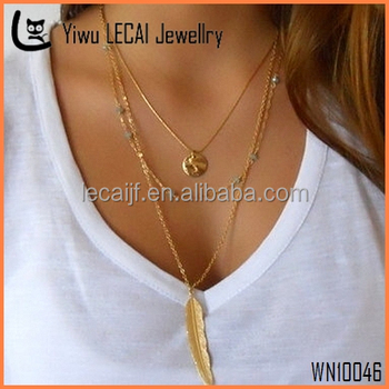Layered Gold Necklace Set; Gemstone Beads and Gold Necklace; Gold Coin And Feather Necklace; Delicate Necklace Set