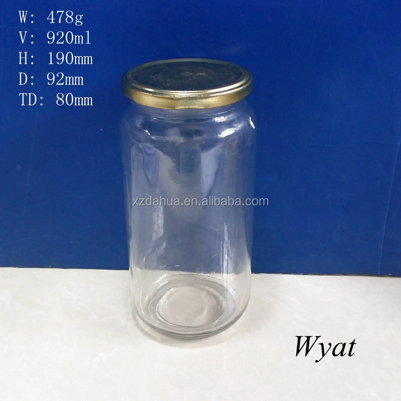 32oz 900ml glass pickle jar glass food storage jar with tin lid