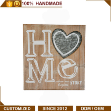 MYEE Carved Wood and Iron Wall Art Decoration with HOME Letters