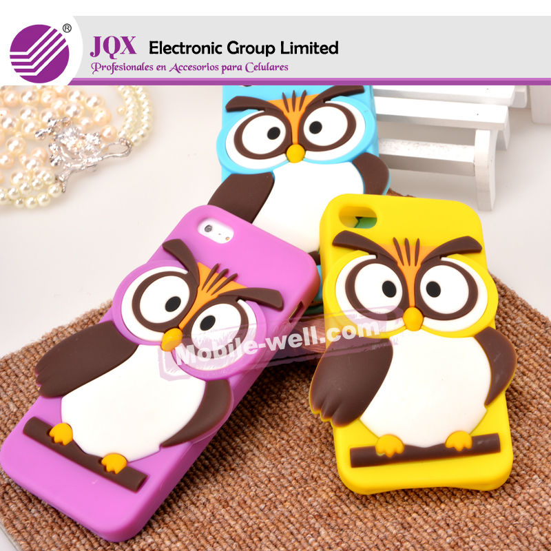 owl silicone case for iphone 4, universal silicone mobile phone case silicon