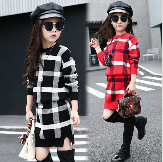 Wholesale New Girls Plaid Set 2 Pieces Sweater+Knitted Skirt Winter Autumn Cotton Soft Fashion