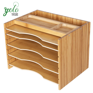 Bamboo Wood Desk Organizer File Organizer with 5 Adjustable Shelves
