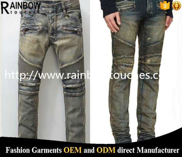 Wholesale washed pants shinny denim trousers for men jeans