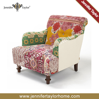 Unique single seat sofa chair,arm chair made by vintage kantha quilt recycled sari blanket