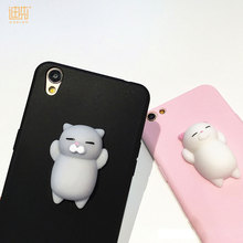 Hot sales summer cute cat 3d cartoon Squishy phone case for iphone