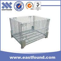 Metal galvanized strong base collapsible wire storage container cage