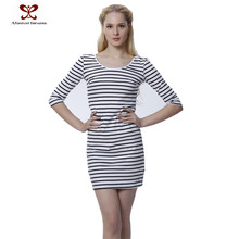 Cheap Clothes wholesale Lady Fashion Dress For Women Long Sleeve Bodycon New Dress Stripes Causal Women Dress
