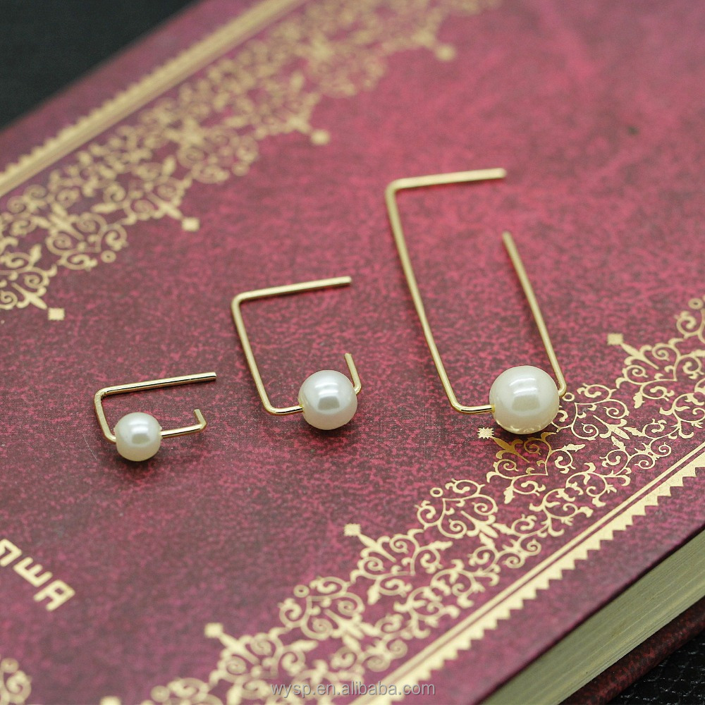 Fashion Jewelry Accessories Metal Copper Brass Wire Pearl Bar Earrings For Women