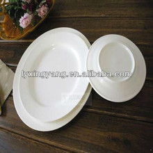 16pcs moon shape cheap plain white ceramic tableware plates