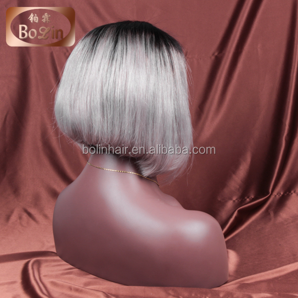 22'' length natural looking ombre grey color human hair grey lace front wig