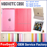 Ultra slim leather case for ipad air 2, protective cover for ipad mini 3 folding leather cover with wake up/sleep for ipad 2