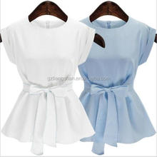 Wholesale Women's White Blue Bow Tie Waist Summer Tops Cotton/Linen Blouse