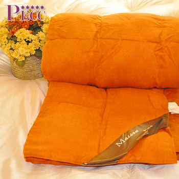Orange cotton queen down filled feather comforter