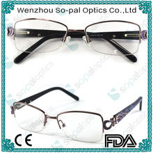 2014 Fashion Designer women metal and acetate square frame Eyeglasses Frames