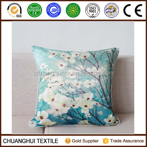 100% polyester faux silk custom printing cushion covers