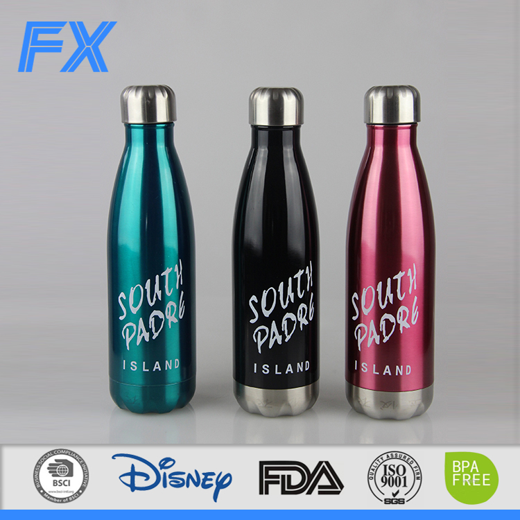 Shanghai wholesale 1000ml perfume bottles free samples coke cola shaped 18/8 stainless steel water bottle