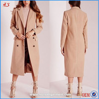 China supplier custom high quality winter woman double breasted wool camel coat long maxi coat