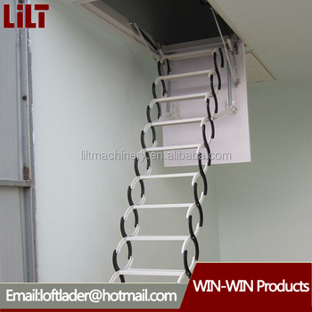 indoor duplex staircase folding attic ladders with handrail steel retractable stairs for building material