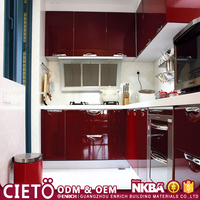Modern modular hanging kitchen cabinet design high gloss lacquer kitchen cabinet doors with DTC drawer slides