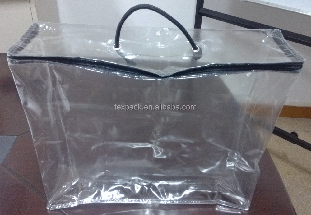 Texpack plastic vinyl zipper cushion bag front with pocket for card insert