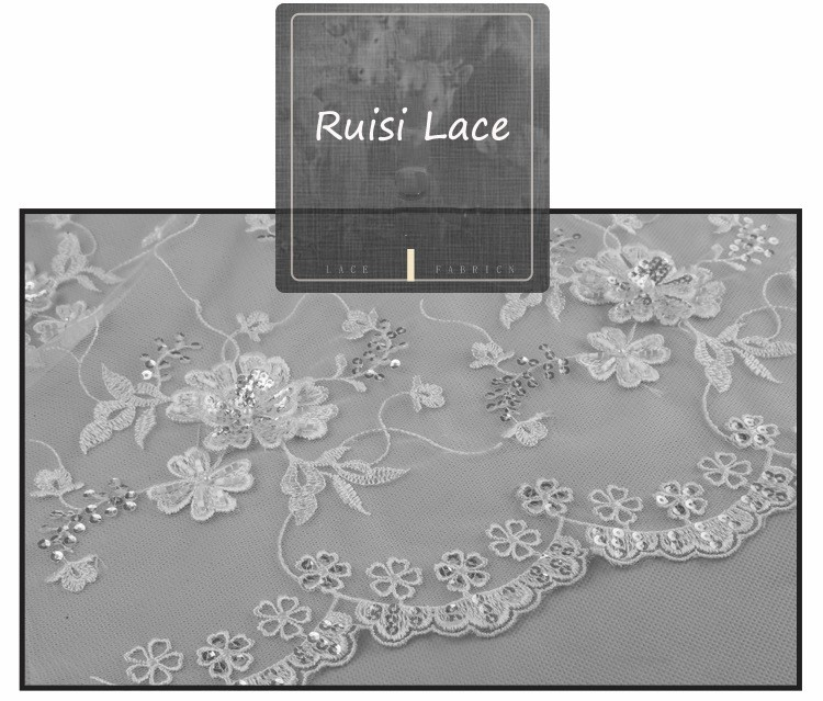 2017 Eco-friendly embroidery beaded ivory flora lace fabric