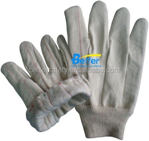 White Warm Fleece Lining Cotton Canvas Cotton Glove Wholesale