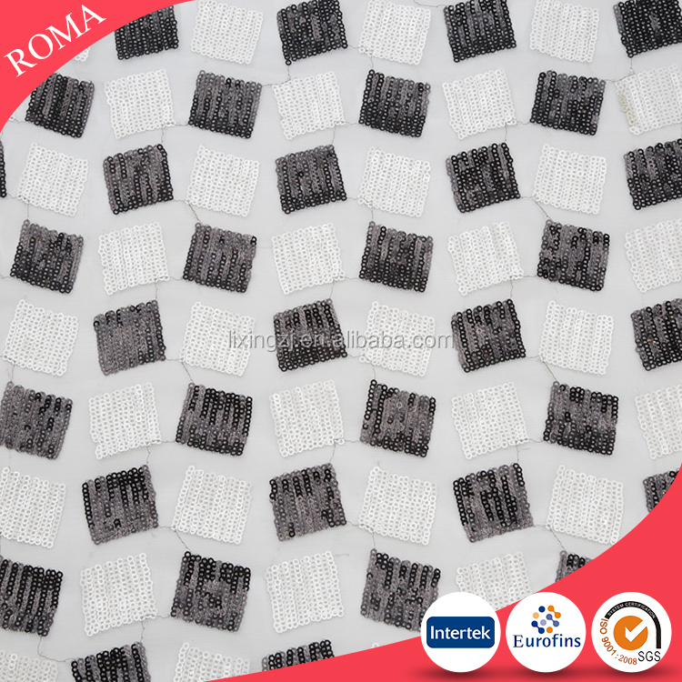 Black and white sequin fabric bulk buy from China