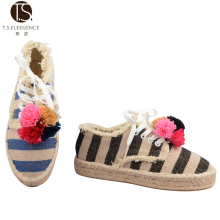 Promotional Top 10 Quality Alibaba Express Shoes Women 2016 New Design Women Flat Cotton Fabric Sole Espadrilles