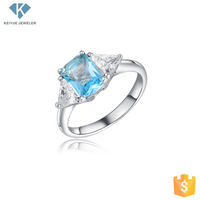 Blue aquamarine diamond shape cz jewelry ring for women,single stone ring design