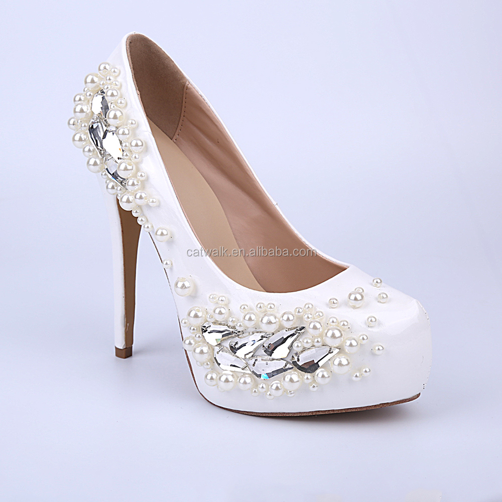 Pure White Wedding Party Dress Shoes- Fashion Patent Women High ...