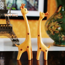 Pine Coloured Drawing Red Minimalism Furnishing Articles European Three Deer Giraffe Wood Stand Life Size Deer Statues