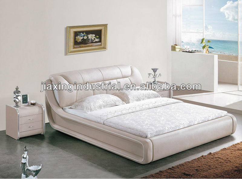 2013 latest modern style leather wood bed 1313#