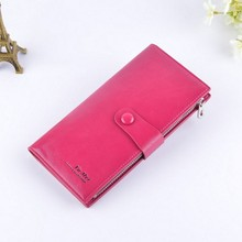 Ladies long zipper leather purse japanese leather wallet for men and women