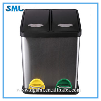 Two-compartment stainless steel trash and recycling bin for outdoor