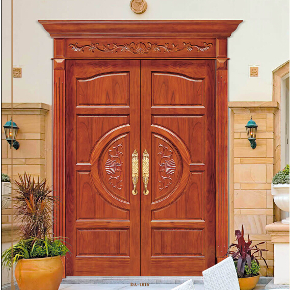 solid wooden entrance door with raised panel and curve design
