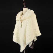 Hot Selling Best Women Winter Real Mink fur shawl scarf / crochet shawl / cheap wholesale shawl