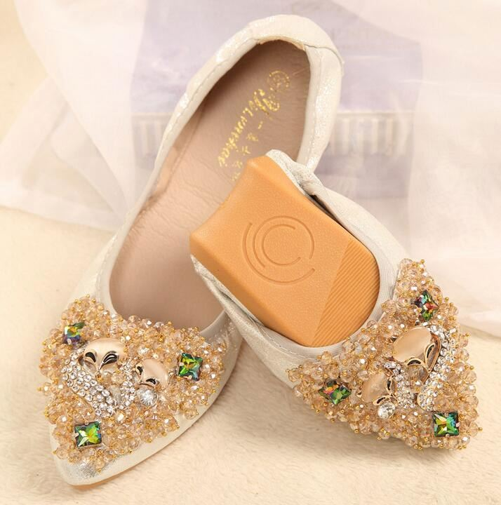 2017 New Women Crystal Ballet Flats Folding Shoes Casual Rhinestone Soft Driving Flats Dancing Egg Rolls Boat Shoes Loafers