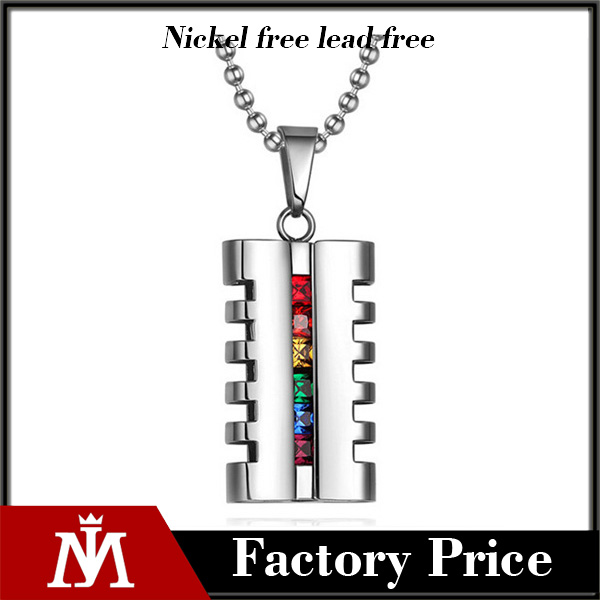 Wholesale stainless steel diamond pendant jewelry polished silver rainbow charm necklace mens