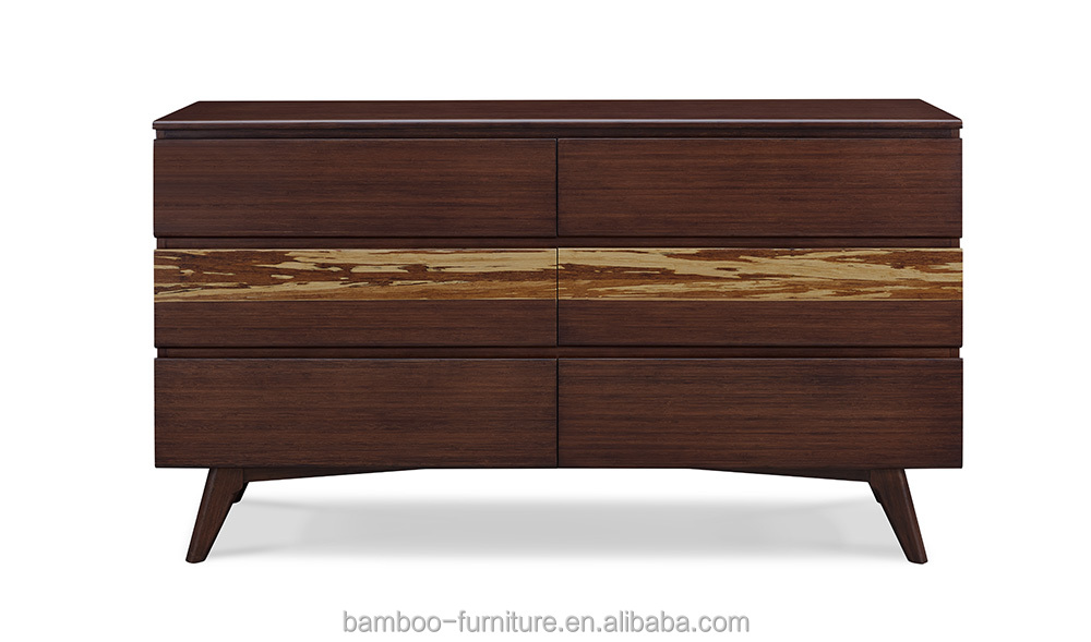 Bed room furniture of Eco-friendly Bamboo Materal Dresser furniture with 6 Drawers Mordern New Creative Bamboo Furniture
