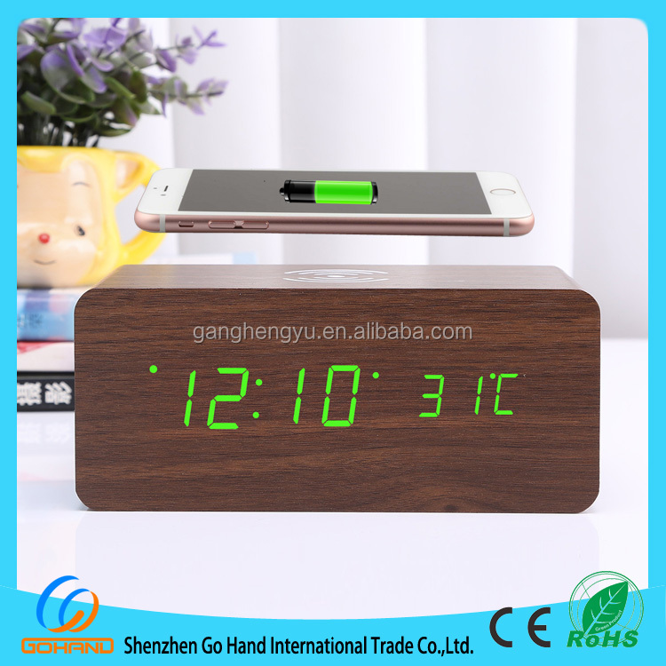 Creative Universal LED wooden alarm clock with QI wireless mobile phone charger