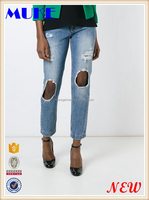 New Model Super Slim Fit Light Blue Distressed Denim Ladies Jeans Pant With Rip Knee Famous Brand Logo Ladies Jeans Truosers