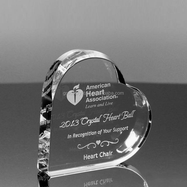Corporate plaque crystal heart design crystal heart awards
