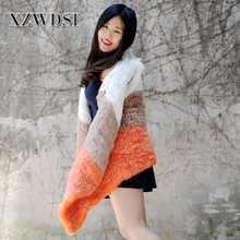 CX-G-B-90 Eco-Friendly Long Knit Rabbit Fur Vest From China
