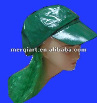 Hot selling newsboy hat with wig green cap with hair Newsboy Diva Hat