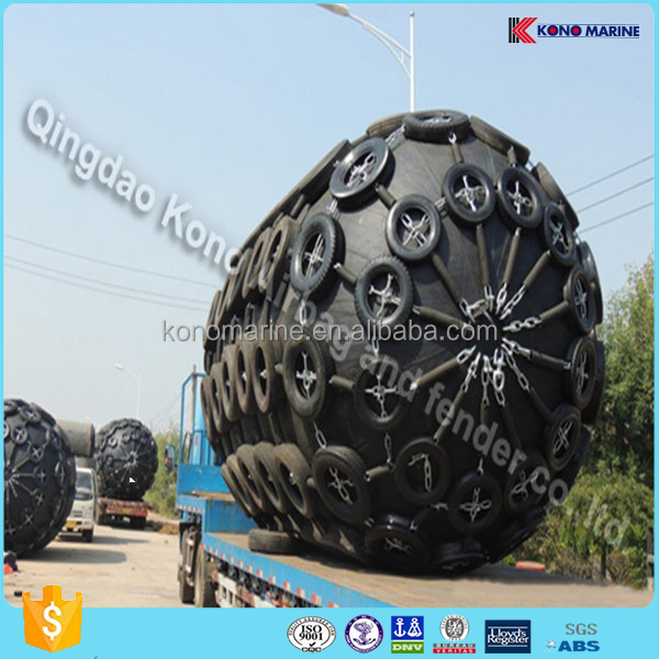 marine Pneumatic rubber fender for ship/boat/vessel with tyre and chain