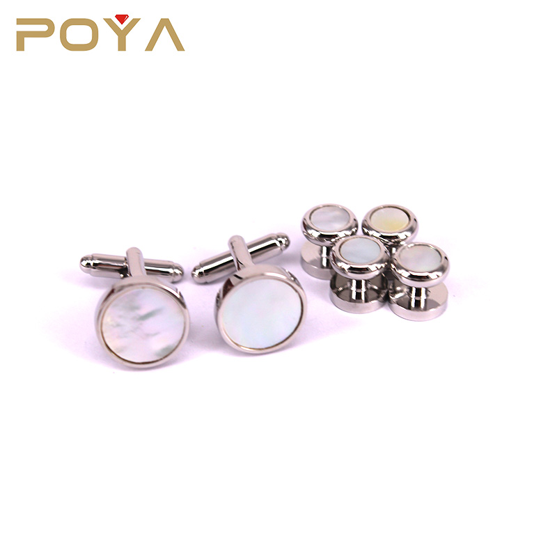 POYA Jewelry French Style Silver Plated Shell Inlay Cufflinks And Studs Set For Business/ Wedding/Christmas