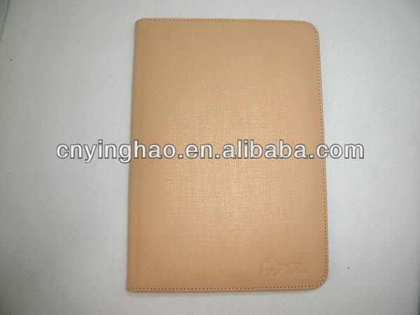 Design most popular pink leather zipper case for iPad